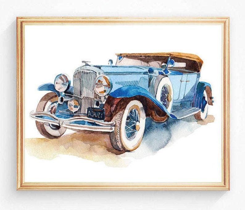 169f64f7bafe Watercolor Art Print Retro Blue Cars Vehicles Vintage Cars Art