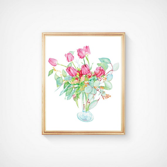 Still Life Pink Tulips In A Vase Watercolor Art Print Flowers Etsy