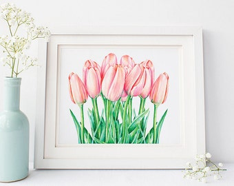 Tulips Printable Spring Flowers Watercolor Art Print, Still Life Watercolor flowers, Flowers Bouquet, Watercolor Floral Painting Wall Art