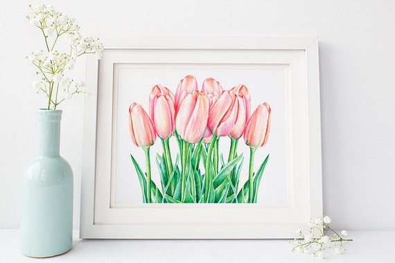 Tulips Printable Spring Flowers Watercolor Art Print Still Etsy