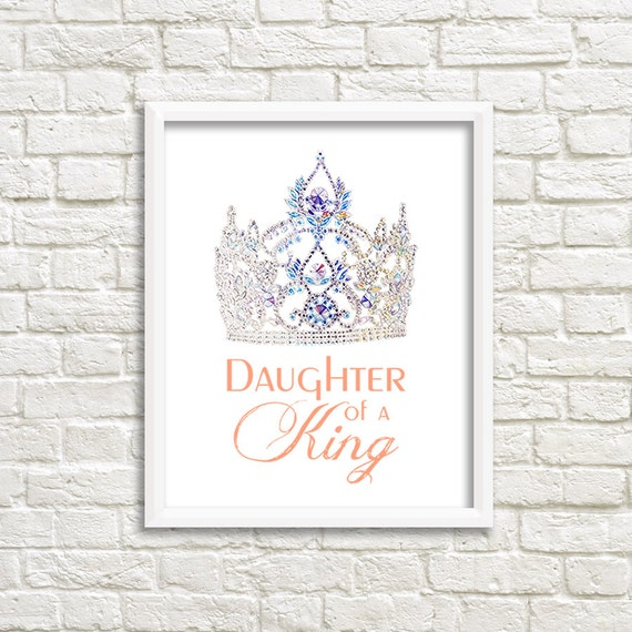 Christian Art Print Daughter Of A King Inspirational Quote Etsy