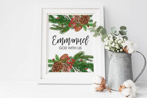 Emmanuel Gott mit uns Bibel-Vers-Weihnachten-Zitat drucken | Etsy