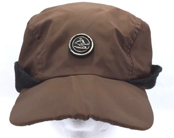 aec6047e1d34a Vintage Winter Cap Skier Badge Skiing Ear Flap Woodsman Hat Brown Nylon