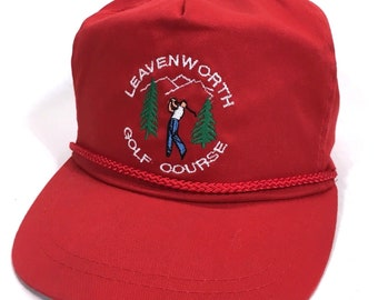 09e99a5b05f3c Vintage Leavenworth Golf Course Embroidered Club Cap Baseball Hat Lid  Headgear c7
