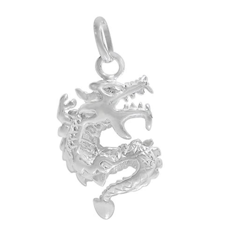 20mm L x 14.5mm W. smooth dragon pendant Sterling Silver Approx pendant size