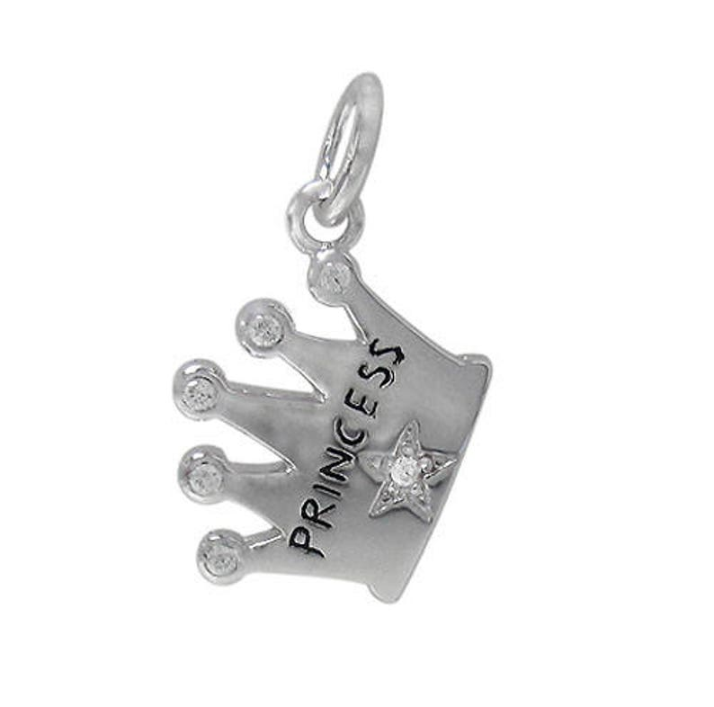 14mm L x 11mm W x 2mm T princess crown charm with 6mm loop and faceted cubic zirconia Rhodium plated on Sterling Silver Approximate size