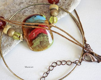 Ring stone multicolor necklace