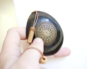 Wood Teardrop Pendant Necklace