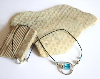 Black elastic Choker, and blue stone