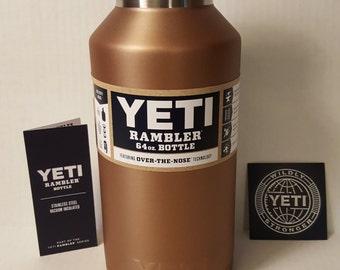 YETI BOTTLE!  64 OZ yeti water bottle powder coated copper coin, bpa free