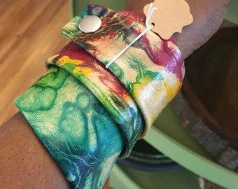Tye dye leather cuffs