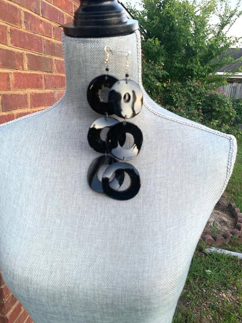 Black horn earrings