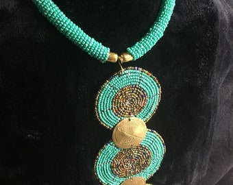 Mint colored beaded necklace