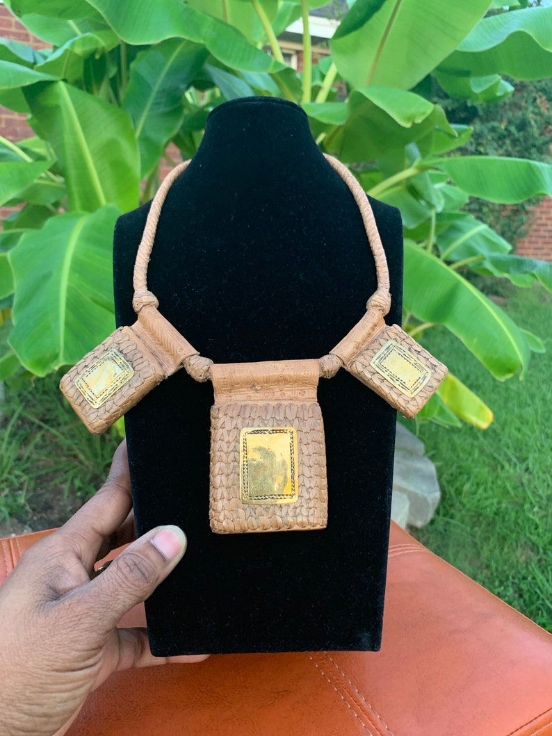 Beige leather and bronze template Unisex Necklace