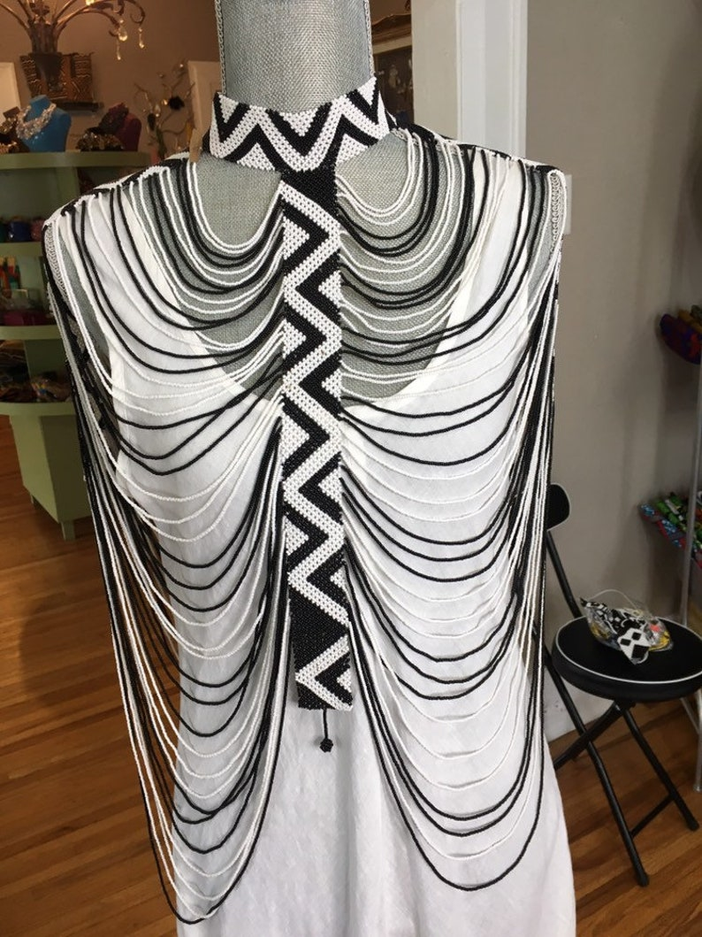 Black /& white Beaded bodychain