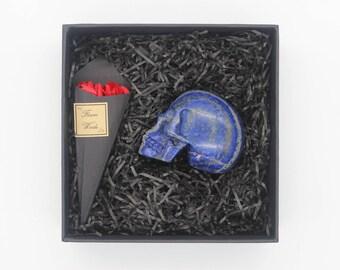 Human Skull Decor Gift - Carved Crystal Skull - Human Skull Replica - Gemstone Skull - Stone Skull - Lapis Lazuli Skull - Skull Gift for men
