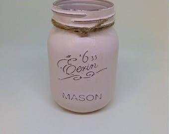 1 Vintage style Mason jar, Shabby chic, Vintage, Baby Pink, storage