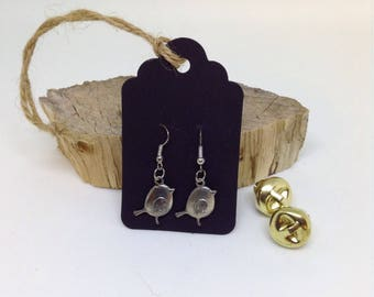 Tibetan Silver Christmas Robin Earrings