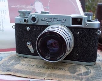 Vintage Soviet Camera Russian FED-2, lens Industar 26 m for 2.8/50 Serial number: N 579712