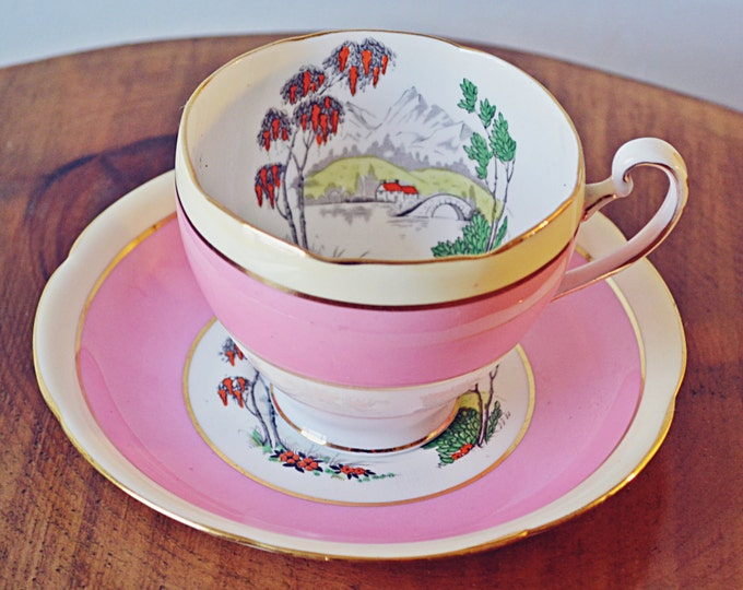 Grafton ABJ & Sons Teacup And Saucer, Hand Painted, Enamel