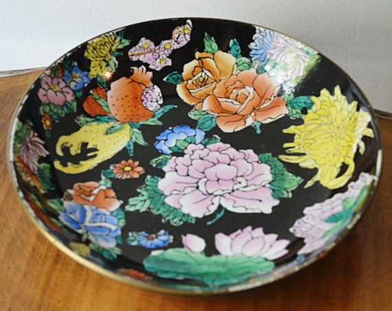 Porcelain Brass Bowl, Brass Cased Bowl, Vintage Decorative Bowl, Flowered Bowl