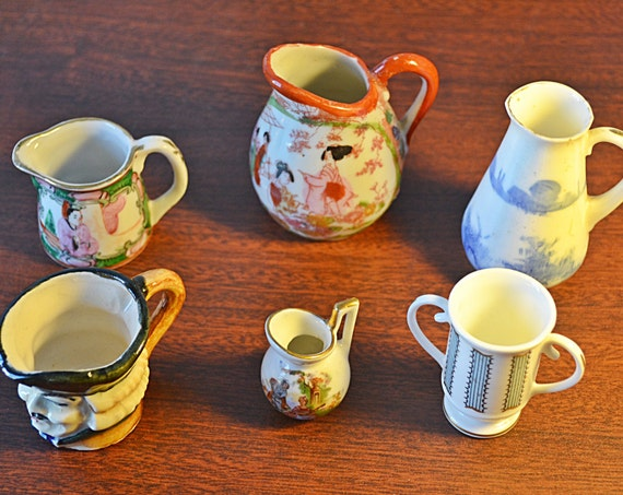 Set Of 6 Miniature Pitchers, Miniatures Collection, Royal Doulton, Coalport, Toby Jug