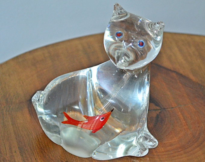 Hand Blown Glass Cat Figurine