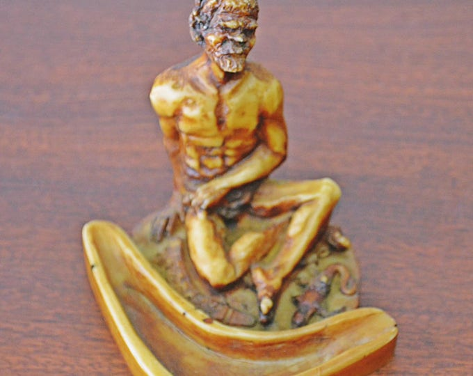 Vintage Carving, Australian Carved Ashtray, Old Man With Reptile And Boomerang Sculpture