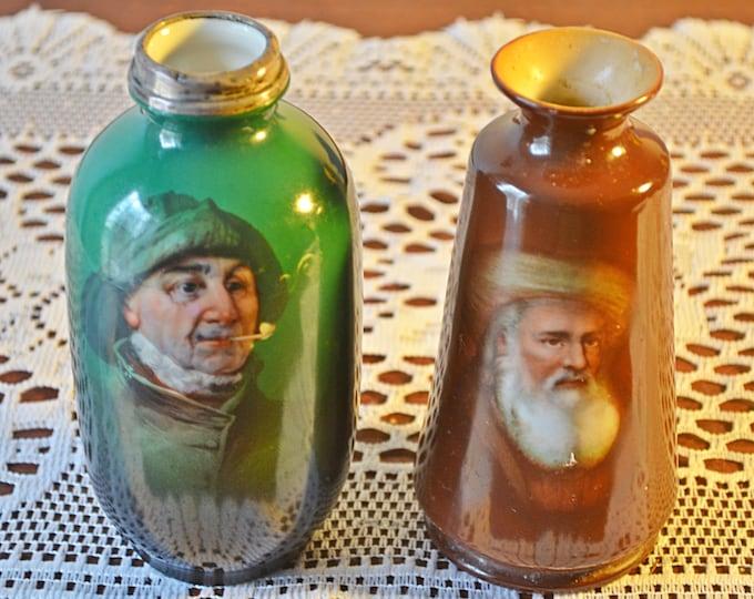 2 Portrait Cabinet Vases, Vintage Antique Cabinet Vases
