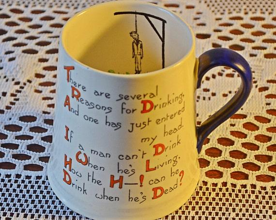 Vintage Drinking Mug, Carlton Ware Hangman Mug, Collectible Mug