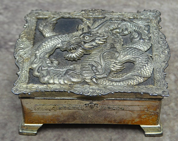 White Metal Dragon Design Box, Jewelry Box, Cigarette Box, Made In Occupied Japan