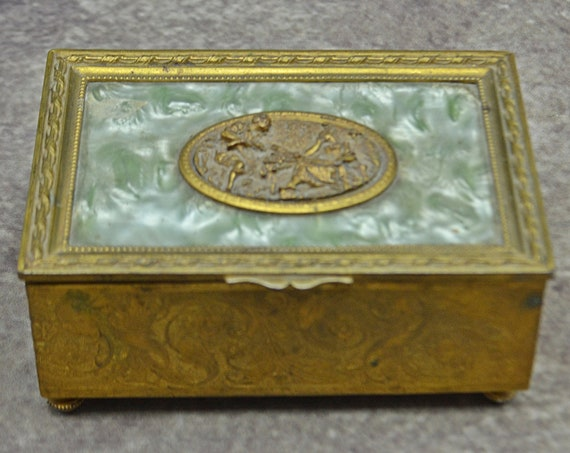 Vintage French Brass Music Box, Metal Trinket Box