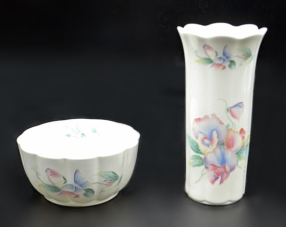 Aynsley Vase And Bowl, Little Sweetheart, Flower And Butterfly Design