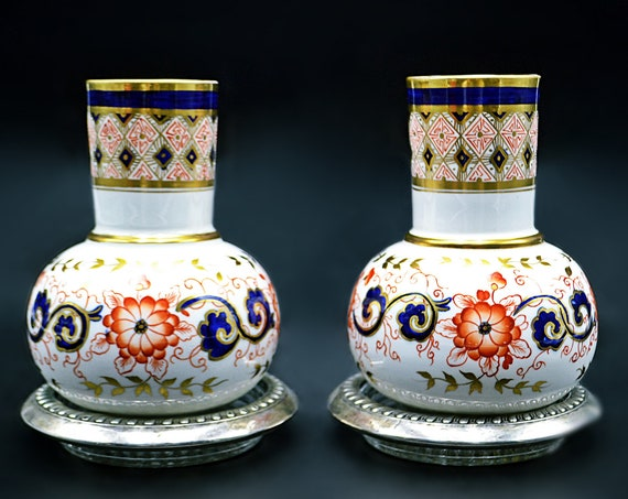 Antique 1880's Cabinet Vases, Thomas Allen & Spencer Green, Imari Vases, 1800's Porcelain, Sterling Silver Coasters