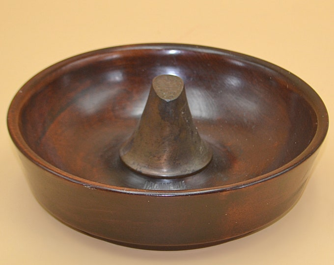 Antique Parson's Nut Bowl, Wood Bowl With Metal Anvil