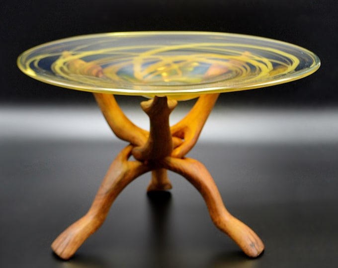 Vintage  Signed Blown Glass Bowl On Tripod Snake Stand, Art Glass Dish, Swirl Glass