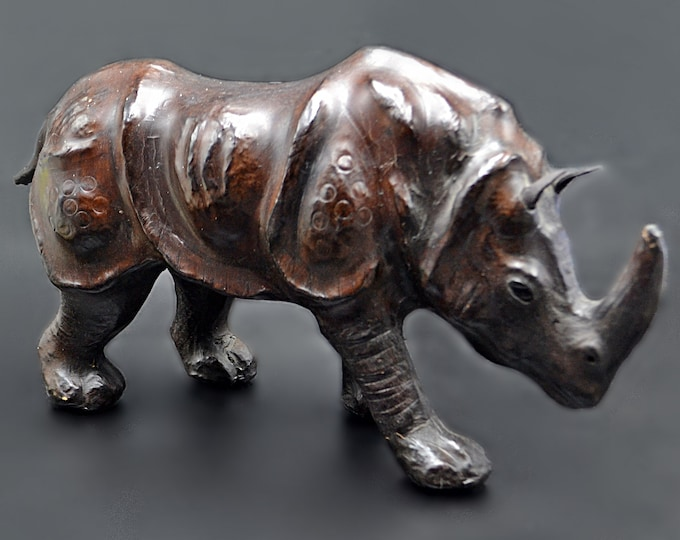 Leather Clad Rhinoceros Statue, Rhino Sculpture