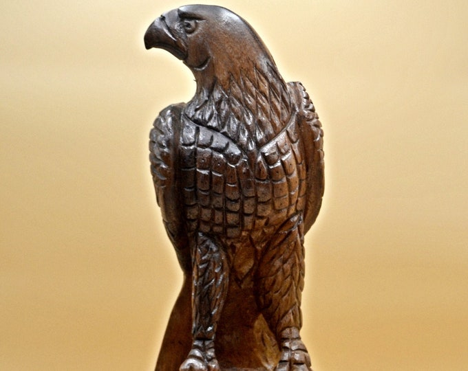 Vintage Wood Eagle Carving, Large Wood Eagle Statue
