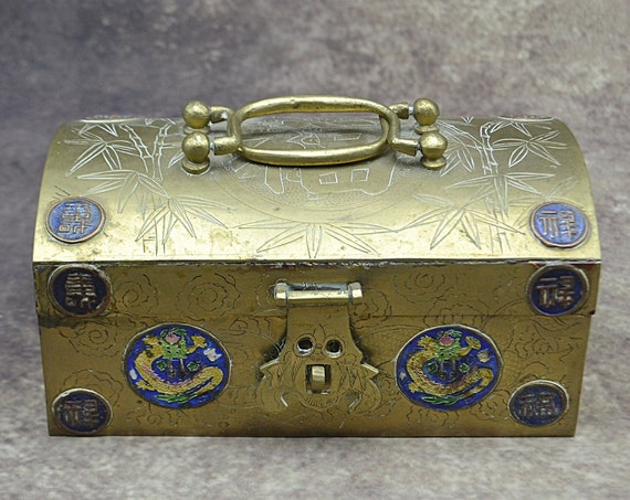 Asian Brass Dragon Chest, Etched Box With Handles