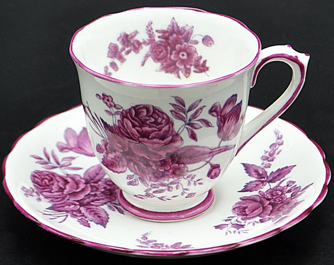 Royal Chelsea Chantilly Rose Teacup And Saucer, Small Cup And Saucer Set, Pink Roses