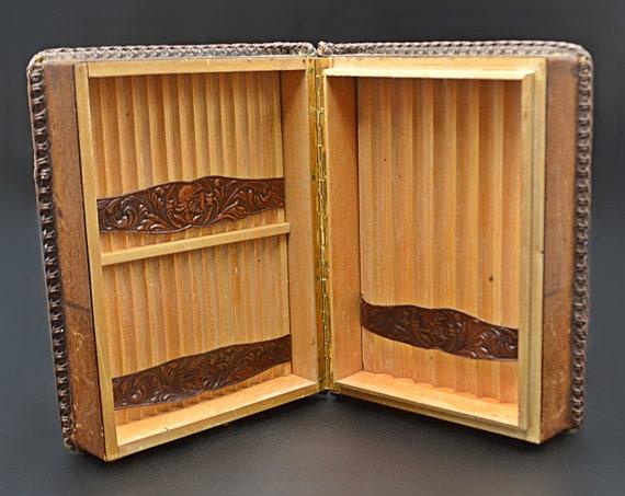 Vintage Leather Book Cigar Box, Spanish Cigar Holder
