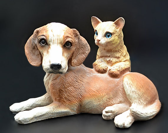 Universal Statuary Corp Dog With Cat Figurine, Doorstop