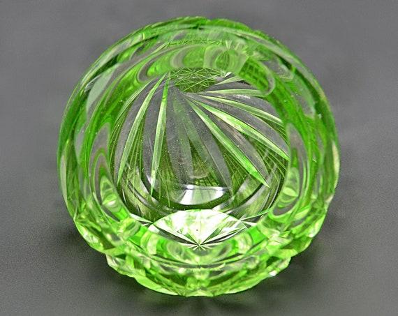 Bohemian Glass Ashtray, Green Cut To Clear Globe Ashtray