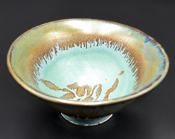 Mid Century Teal  And Brown Colour Pottery Bowl, Fruit Bowl