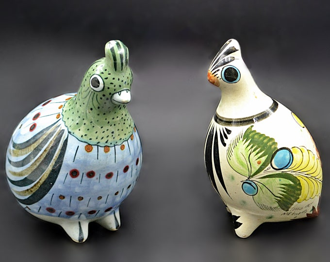 Tonala Mexico Art Pottery, Large Ken Edwards Bird Figurines