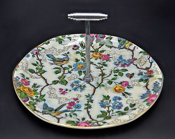 Barker Bros Tudor Ware Pastry Plate, Lorna Doone Chintz Pattern, Small Pastry Tray With Handle