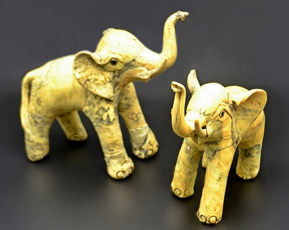 Paper Mache Elephant Figurines, Papier Mâché Sculptures