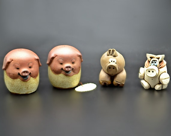 Pig Collection, Happy Pig Salt And Pepper Shakers, Pot Sitter, Pig Figurine