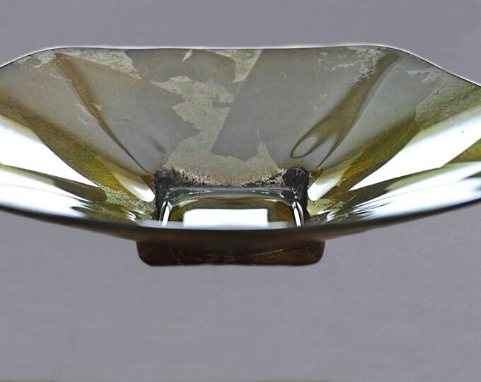Large Art Glass Bowl, Copper Colour Dish