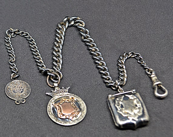 Antique Sterling Silver Watch Chain, Locket Fob, Medallion, Coin